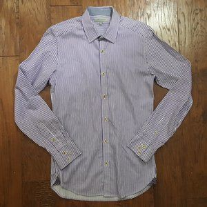 Ted Baker Button Down Dress Shirt Purple Stripe XS